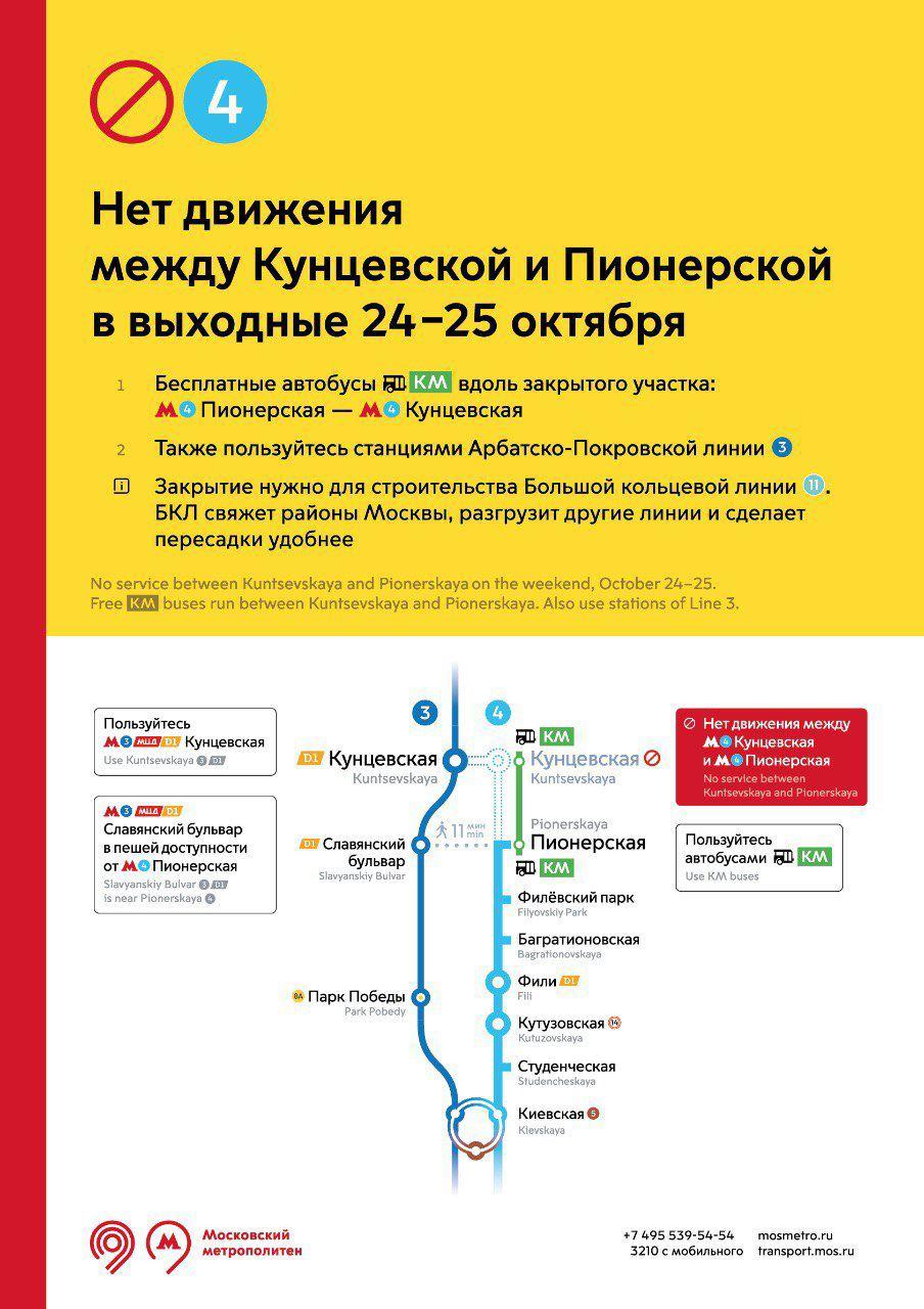 Участок Филевской линии закроют 24-25 октября