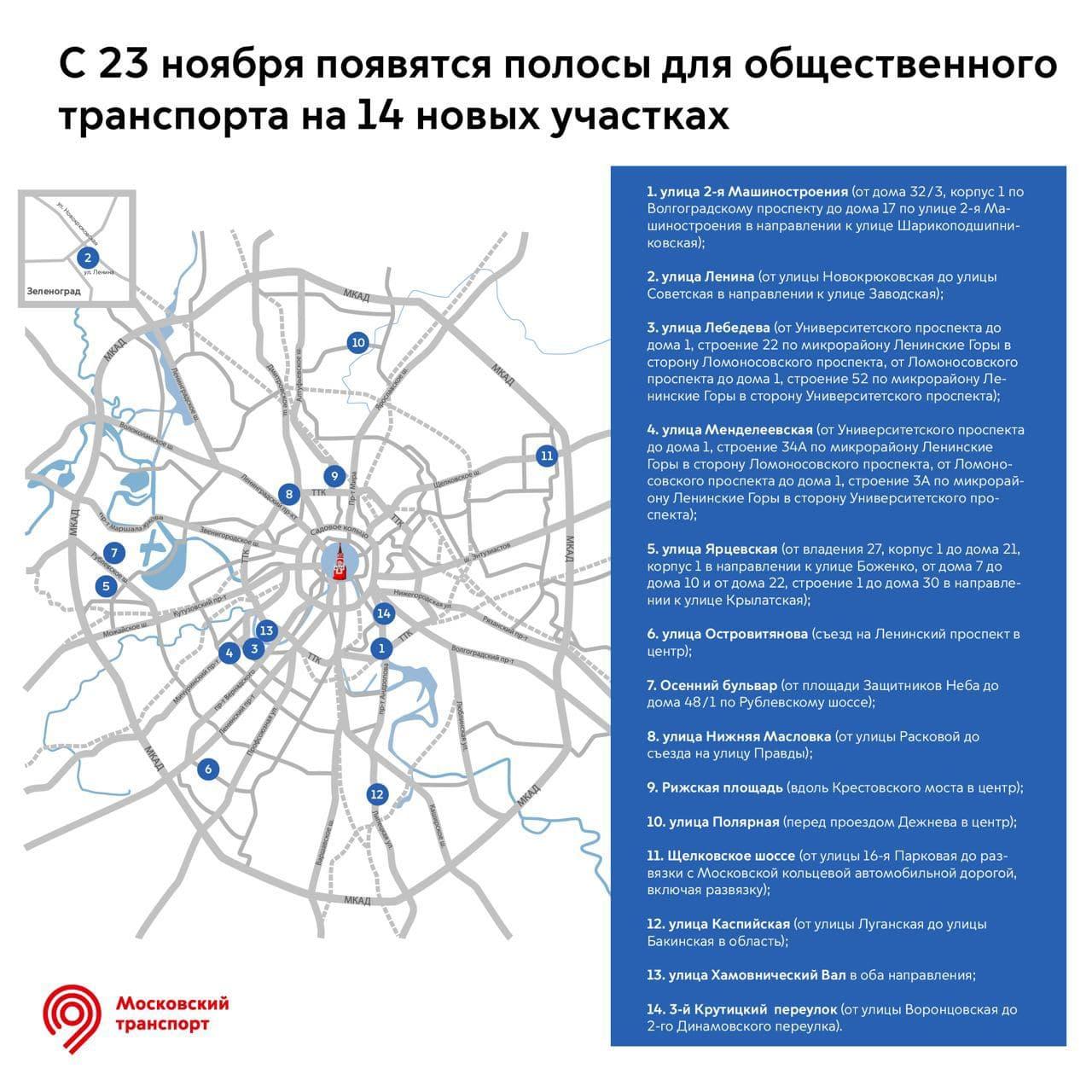 В Москве появятся новые полосы для движения общественного транспорта