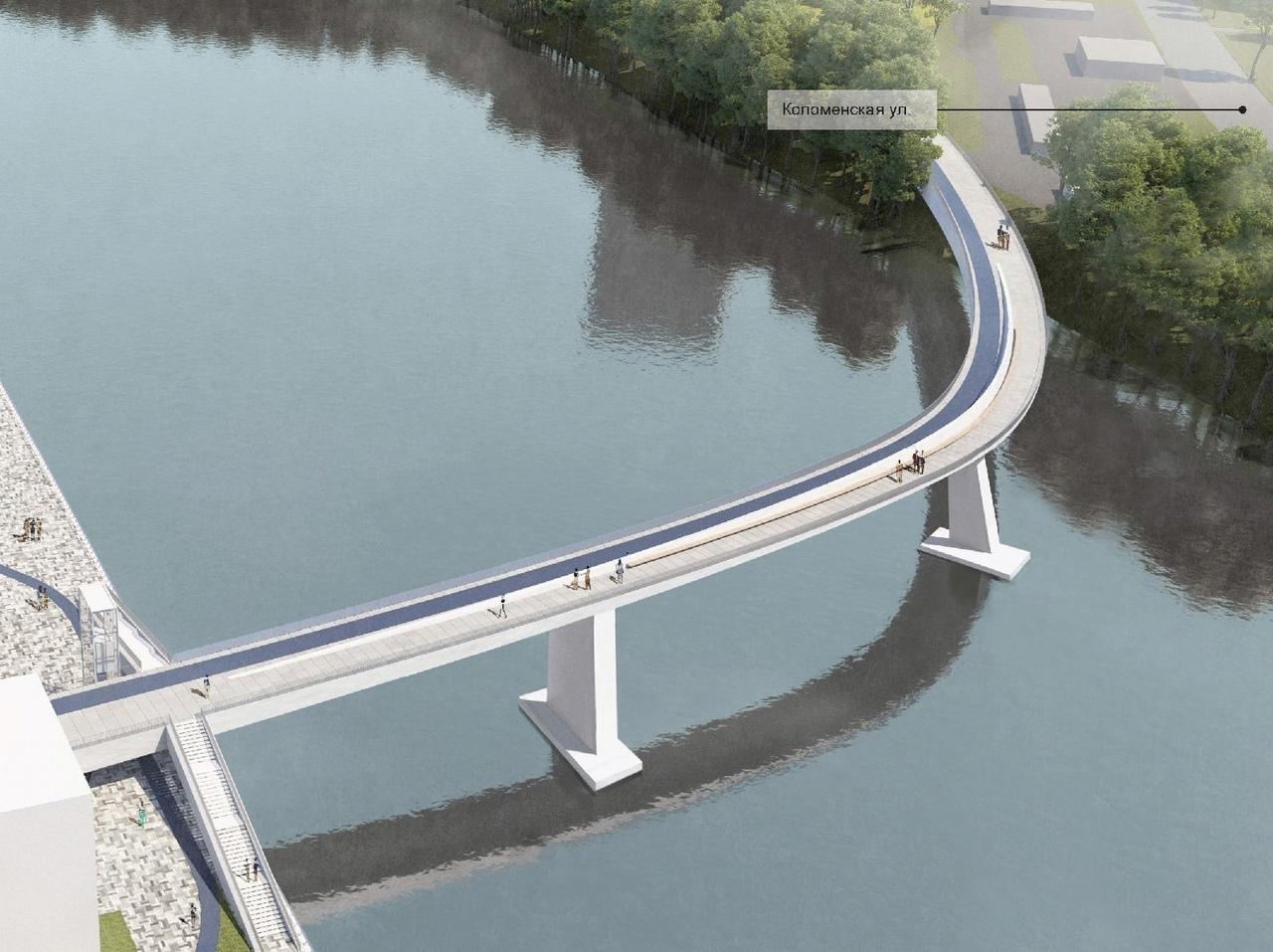 Проект пешеходного моста в Нагатинском Затоне выставлен на общественные обсуждения