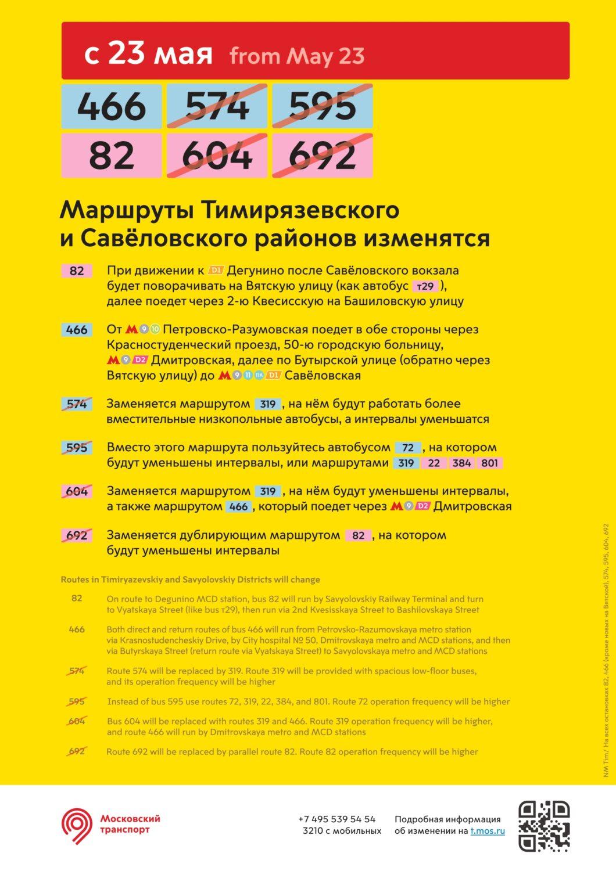 Более 10 автобусных маршрутов Москвы изменятся с 22-25 мая
