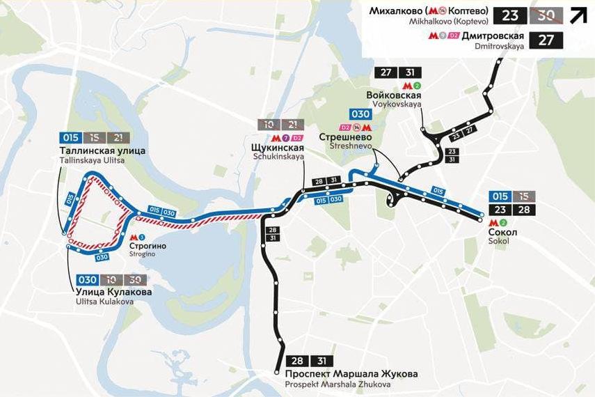 Трамваи не будут работать в Строгино по выходным дням в июле