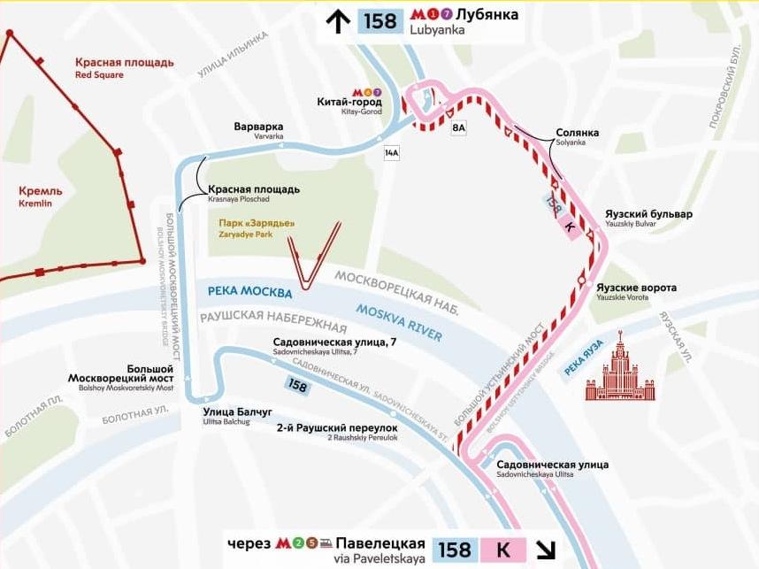 Автобусы №158 вернутся на Большой Москворецкий мост